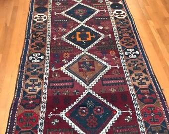 The Perfect Vintage Kurdish Rug, Tribal, Geometric
