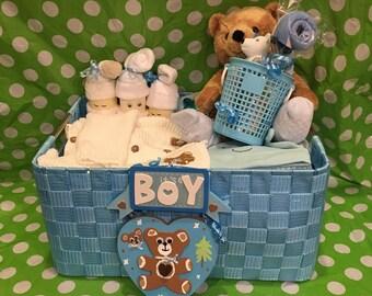 A Handmade  Baby Boys First Teddy Bear Gift Basket