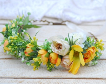 Yellow flower crown Bridal flower crown Flower Crown bridesmaids flower crown floral headband floral crown Boho wedding Bridal flower crown