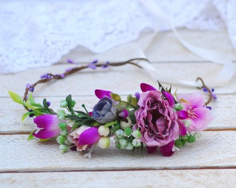 Lilac Pink Flower Crown Wedding Bridal flower crown Wedding rustic crown Flower wedding halo Flower gir Bridal headband Flower headpiece