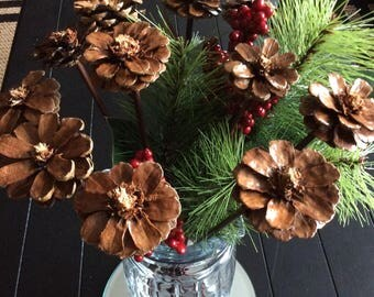 12 Hand Made Pinecone Flowers with Stems
