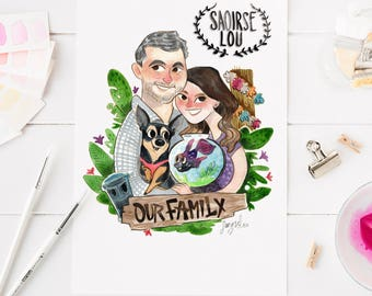 Custom portrait watercolour, engagement gift, couple portrait, wedding gift, family portrait, anniversary gift, gift family