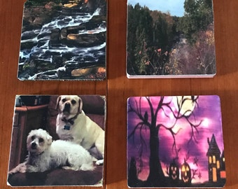 Personalized set of 4 Coasters with your photos