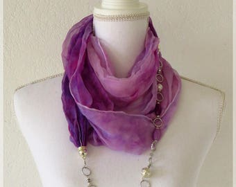 Hand painted silk jewel scarf, refined jewel scarf, purple lilac scarf, gift for her, refined gift for woman