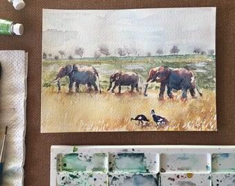 Original Watercolor Elephant Painting, watercolor landscape painting, elephant art, African art, safari painting wild life painting Savannah