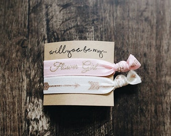 Will You Be My| 2 Pack | Flower Girl Proposal | Elastic Hair Ties | Flower Gift Gift | Be My Flower Girl | Bridesmaid Card
