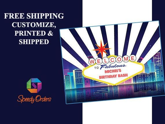 Free Birthday Las Vegas ~ Large custom las vegas casino birthday banner vegas party