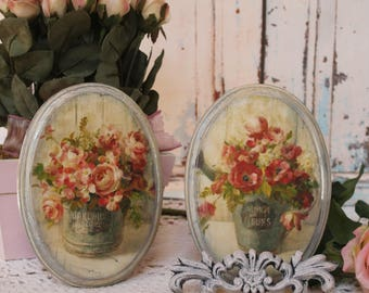 "A set of 2 ""Fleurs"" ~ Shabby Chic ~ French Country Cottage style ~ Wall Decor Sign"