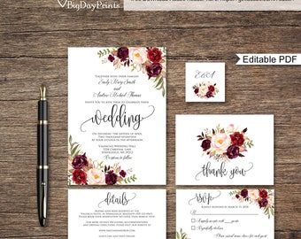 Wedding invitation kits etsy wedding invitation template floral wedding invitation suite boho chic wedding set burgundy wedding stopboris Image collections