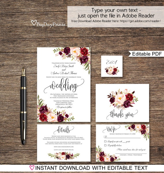 Wedding Invitation Template Floral Suite Boho Chic Set Burgundy A047 Instant Download Editable PDF