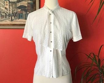 50's White Swiss Dot Nylon Blouse Tie Collar Rhinestone Buttons Mad Men Secretary