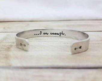 I Am Enough Bracelet - Secret Message - Hidden Message Cuff - Inspirational Gift