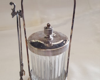 Antique Silver-Plate Pickle Castor with Tongs