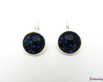 Earrings, cabochon, black, blue, stars