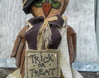 Primitive Doll - Primitive Owl - Rag Doll  - Halloween Owl - Handmade Doll - Fabric Doll - Cloth Doll - Fall Decor - Halloween Decor - Owl