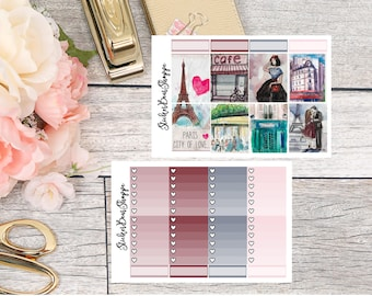 Paris In Love Weekly Kit Planner Stickers - For Erin Condren Life Planner