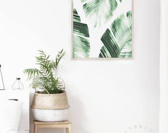 banana leaves print tropical wall art modern home decor banana leaves printable