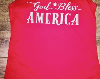 God Bless America racer back tank top July 4th patriotic American glitter