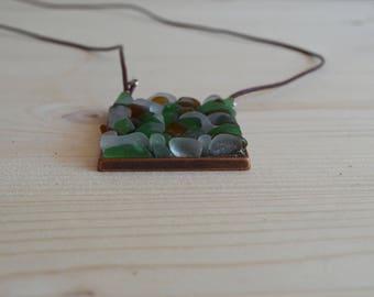 Beach glass square necklace