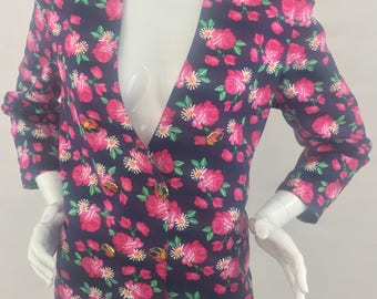 Vintage Sirenxing Double-Breasted Blazer/Navy Blue with Floral Print/Size Medium