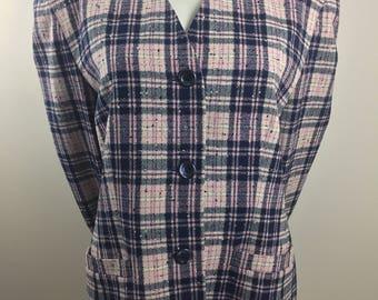 Vintage Pendleton 100% Virgin Wool Pink and Navy Blue Plaid Blazer/Size 14