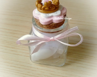 Princess gold crown polymer clay favor baptism baby shower first birthday