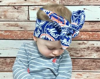 NY Mets Headwrap- NY Mets Headband; NY Mets Bow; Baseball Headband; Baby Headwrap; Newborn Headwrap; Toddler Headwrap; Girls Headwrap