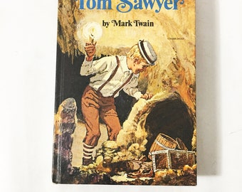 The Adventures of Tom Sawyer.  Vintage Book by Mark Twain.  A Whitman Book circa 1971.  Samuel Clemens.  Children's book.  Book lover gift.