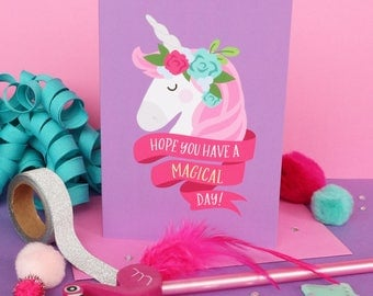 Unicorn birthday / Unicorn card / Girls birthday card / Kids birthday card / Cute unicorn card / Daughter card / Unicorn lover card