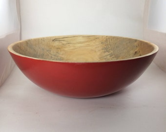 Red painted Silver Maple bowl
