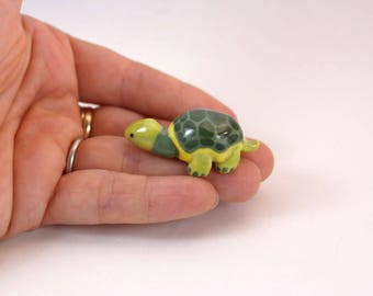 miniature porcelain turtle figurine, tiny ceramic green turtle ornament, wee handmade turtle, ready to ship