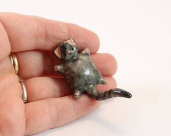 Miniature porcelain grey tabby kitty cat, wee ceramic clay gray tabby kitten, collectable lying cat figurine, ready to ship