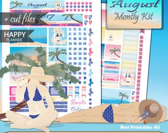 AUGUST monthly kit printable planner stickers, Happy Planner August Kit, August Monthly view,  MAMBI Monthly Stickers, cutfiles HP-08