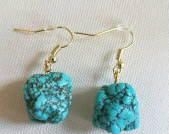 Turquoise Howlite Stone Earrings