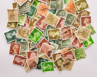 Woodland; Brown and Green Colour-themed Used Old Postage Stamps; scrapbook, paper ephemera, collage, decoupage, natural, forest, mail art