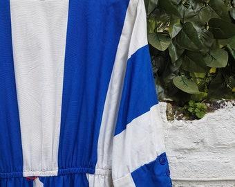 Vintage 80s Blue and White Stripe Nautical Midi Dress