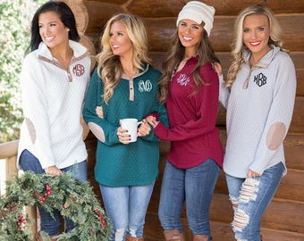 Monogrammed Snap Pullovers..Quarter Zip..Preppy Fall Jackets..Cute Personalized Pullover..Preppy Quarter Zip..Cute Elbow Patches..3 Colors