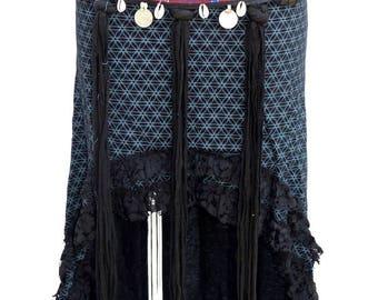 Bellydance Belt PINK AND BLACK /Tribal dance belt/Tribal fusion/Tribal dance adornement/Ceinture DanseTribale