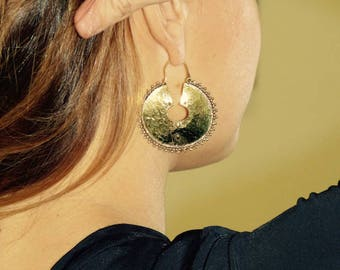 Brass earrings full moon, boho earrings, ethnic earrings