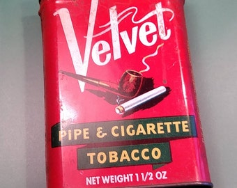 Vintage, Velvet Tobacco Tin. Used. Lot J