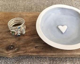 Ring bowl, ring dish, trinket dish, trinket dishes, jewellery tray, ceramic, blue, white - handmade porcelain, wedding