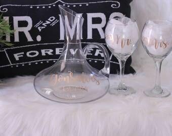 Personalized Wine Decanter Set // Decanter and Glasses // Wedding Gift // Bridal Gift // Bridal Wine Set // Bridal glasses