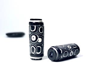Tube Beads, Black And White Polymer Clay Beads, Artisan Made Art Beads, Black White Beads, Unique Beads, For Jewelry Making, Spotted Beads