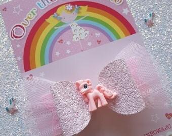 Pony glitter bow, hair clip, hair bow, ponies