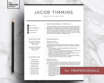 Professional Resume Template for Word & Pages, Curriculum Vitae Template (1, 2 and 3 page resume, cover letter, icon set), Instant Download