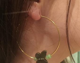 """Minute Butterfly"" by Manaka.lab hoop earrings"