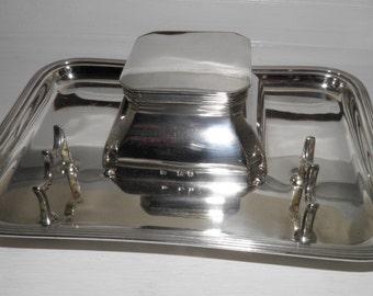 A Silver Edwardian Inkwell & Tray