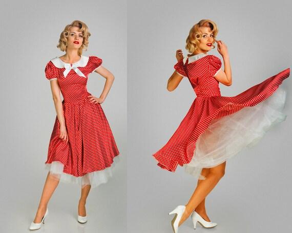 Robe Pin-up Pois Rouge Et Blanc Robe Sur Mesure Satin