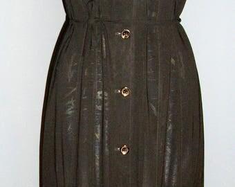 Vintage Jil Sander sheer black shirtdress size 42 size 8 MINT button down dress