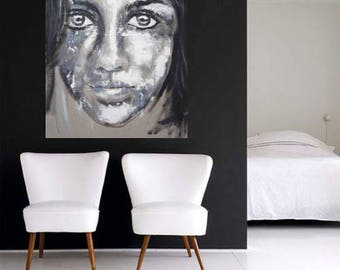 Portrait black & white  Print under acrylic glass  exclusiv + elegant woman face art contemporary living room frame gallery